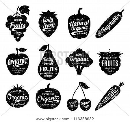 Fruits And Vegetables Logo, Fruits And Vegetables Icons And Design Elements