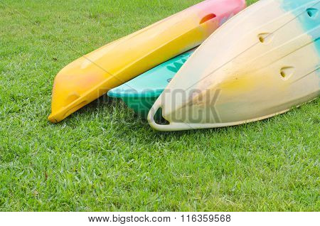 tree rowboat on grass in the park
