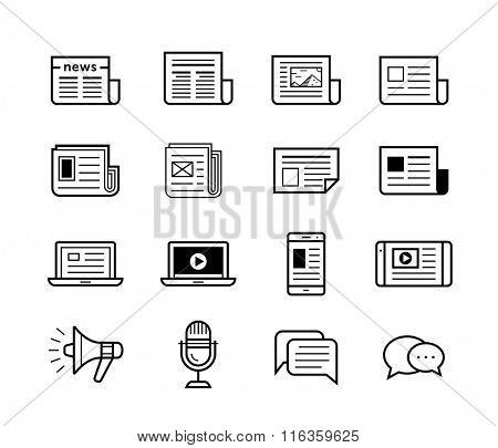 News publish media icons. Newspaper and modern devices and technology. Vector illustration