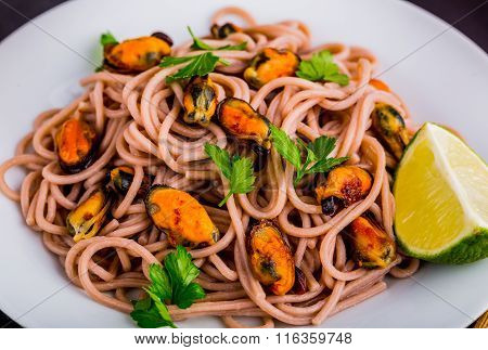 Buckwheat Pasta With Scallops, Parsley And Lime.