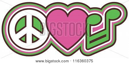 Peace Love Music in Pink and Green