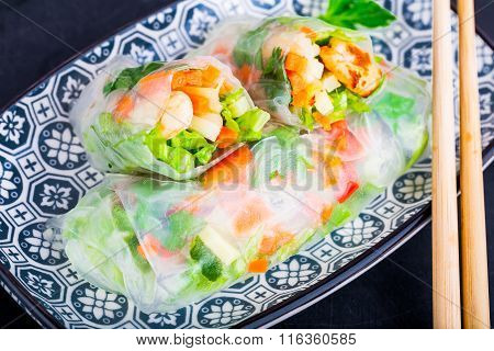 Spring Rolls With Vegetables And Shrimp On A Plate