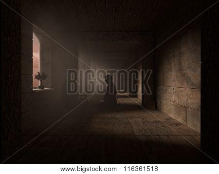 Pray In Dark Corridor