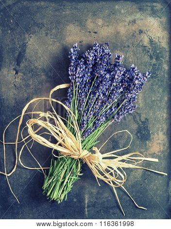Lavender Flowers With Shabby Chic Decorations. Fresh Blossoms
