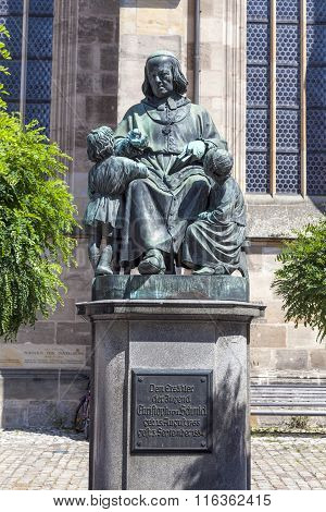 Statue Of Author Christoph Vom Schmid In Dinkelsbuehl