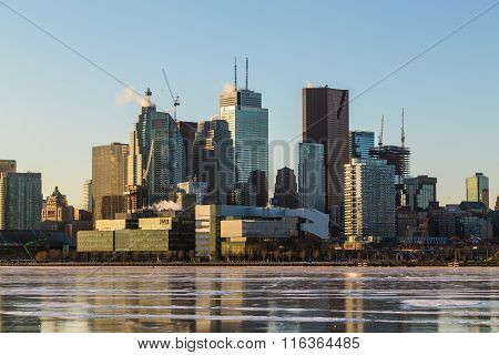 Toronto Downtown Skyline In The Winter Months