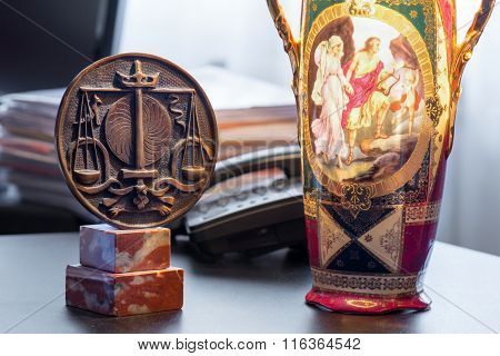 Symbol Of Order and Old Lamp