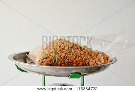 pet food in plastic bag on weighing scale tray
