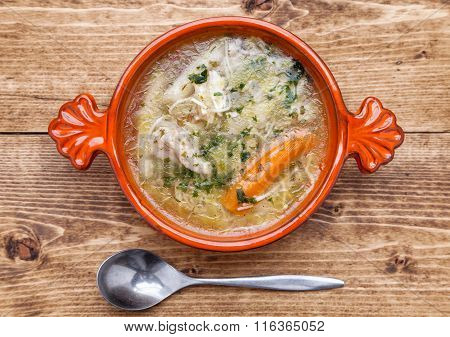 Fresh And Healthy Chicken Soup With Vegetables