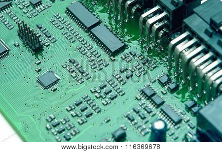 Closeup Of Printed Circuit Board With Mounted Components
