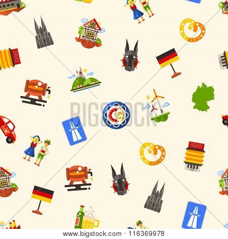 Germany travel seamless pattern with famous German symbols