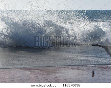 Stormy Sea Along Tuscany Coastline In Livorno, Italy