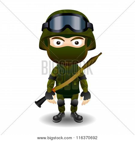 Soldier rpg military character combat black mask male