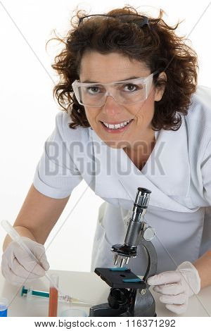 A Medical Or Scientific Researcher Or Doctor Looking At The Camera