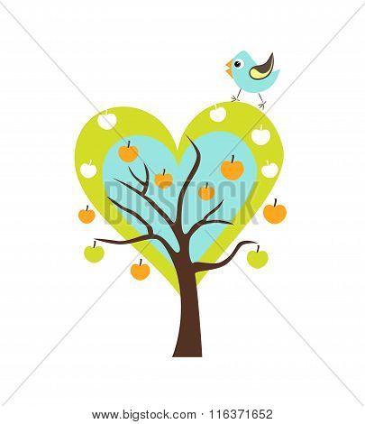 Heart Apple Tree With Singing Bird. Stylized Happy Cartoon Illustration. Flat Color Vector Design. C