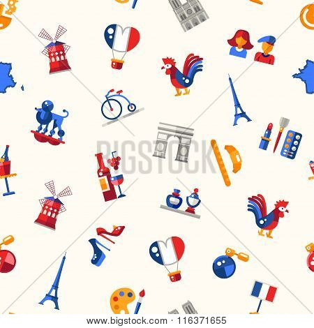 France travel icons seamless pattern with famous French symbols