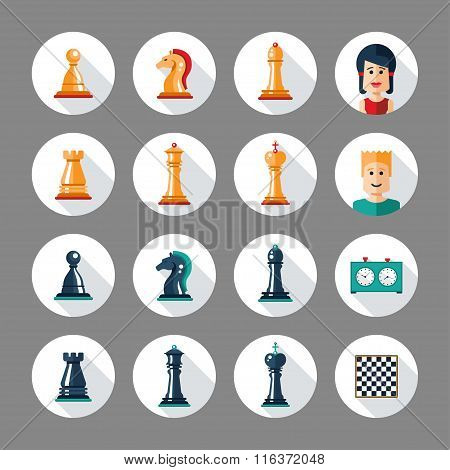 Set of flat design chess icons with players