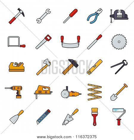 Crafting Tools Filled Line Icons Vector Set. Collection of filled line tools and crafting icons isolated on white background
