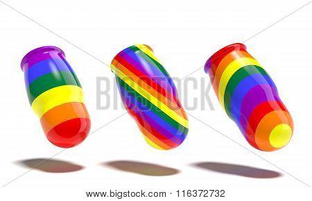 Dolls gay rainbow flag on a white background.