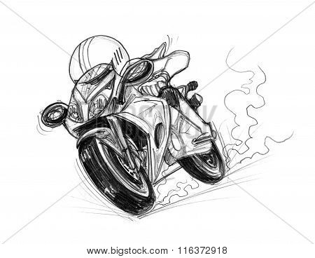 Bike Speedy Pencil Sketch