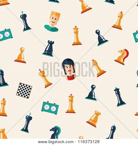 Seamless pattern with flat design chess and players icons