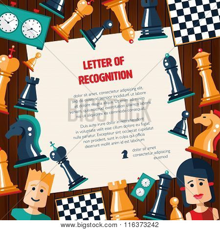 Postcard with flat design chess and players icons