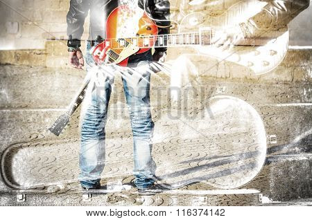 Double Exposure Of A Guitarist Standing With A Guitar