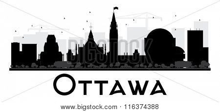 Ottawa City skyline black and white silhouette. Vector illustration. Simple flat concept for tourism presentation, banner, placard or web. Business travel concept. Cityscape with landmarks
