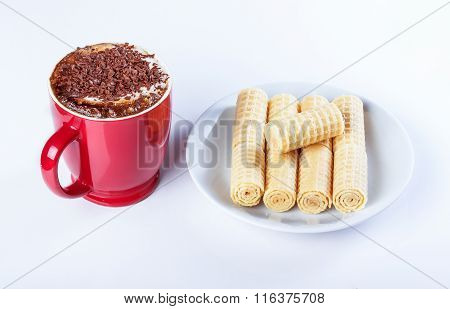 Cappuccino With Chocolate Chip, Wafer Rolls, Red Cup.