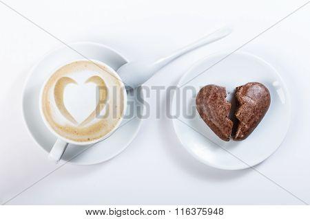 Coffee Latte Heart Shaped Chocolate Cookies In The Shape Of Heart, A Broken Heart.