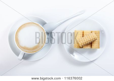Cappuccino With Chocolate Chip, Wafer Rolls, White Cup, Close-up Photography.