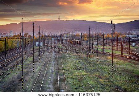 Train Railway Tracks At Sunset, Bratislava.