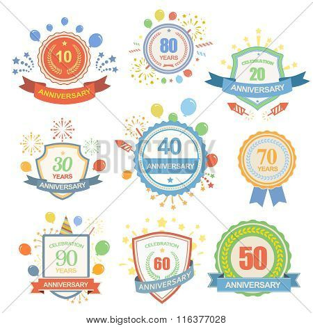 Anniversary celebration emblems set with ribbons isolated  illustration