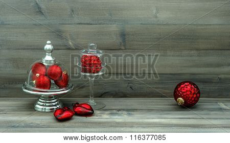 Christmas Decoration With Red Baubles. Nostalgic Still Life