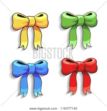 Cute bows set, isolated on white,