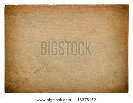 Used paper page texture. Vintage cardboard background with vignette