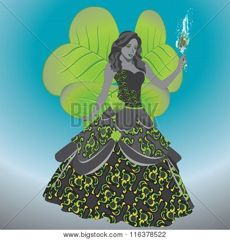 Fairy Of Luck In A Magnificent Dress With A Magic Clover
