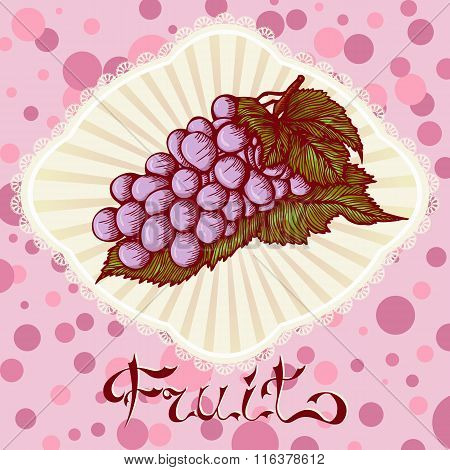 bunch of grapes color drawing card
