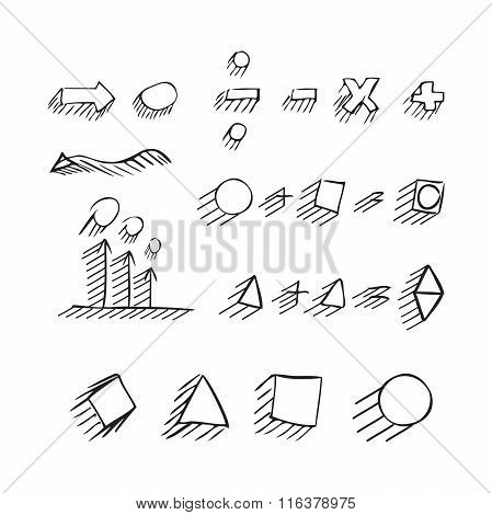 Thin Hand Drawn Arrows, Talk Bubble, Geometric Shapes With Shadow, Mathematical Signs Painted Black
