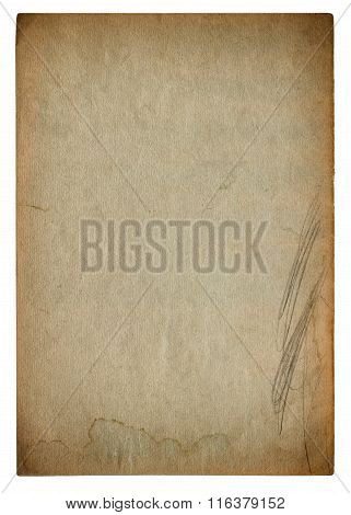 Used stained paper page texture. Vintage cardboard background with vignette