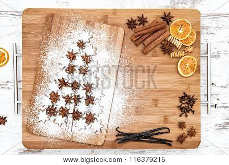 Christmas Cookie Cinnamon Stars And Spices. Food Background