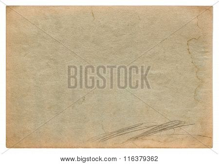 Used worn stained paper texture. Vintage cardboard background