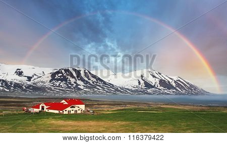 Iceland Landspace Mountain With Rainbow