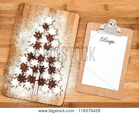 Christmas Cookie Cinnamon Stars And Notice Board For Recipe