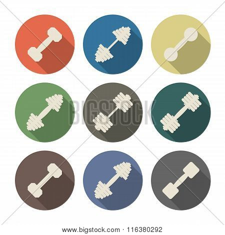 Icons Dumbbell, Vector Illustration.