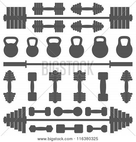 A Set Of Equipment For The Gym, Vector Illustration.