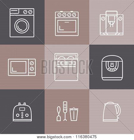 Set of household appliances vector icons: cooker, washer, blender, toaster, microwave, kettle
