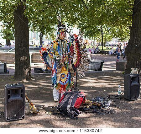 Peru Musician Singing In The Park