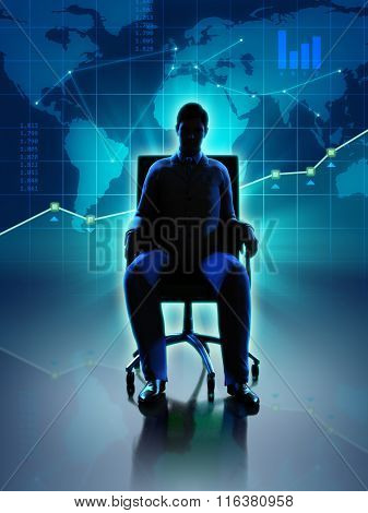 Silhouette of a businessman sitting in front of a world map and some graphs. Digital illustration.