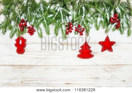 Christmas Background. Evergreen Tree With Red Berries And Decoration
